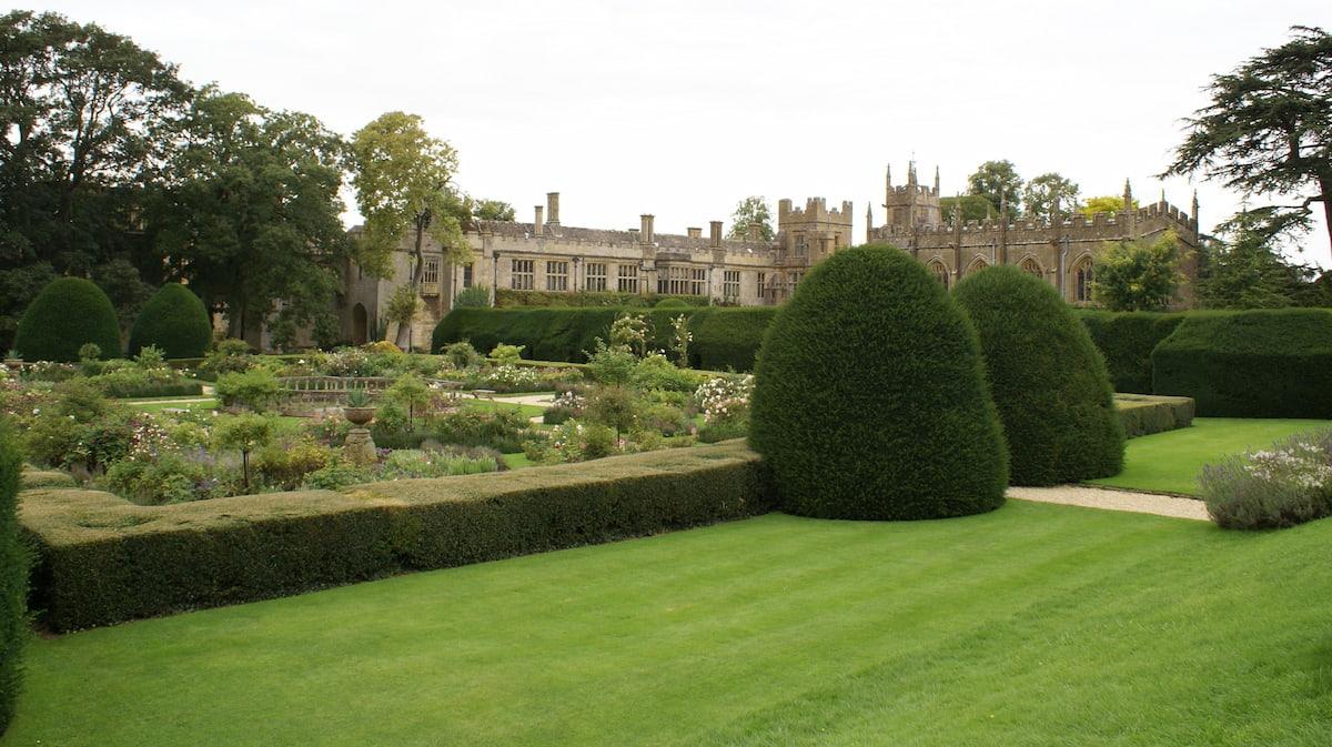 Sudeley Castle garden and church in Winchcombe, Cheltenham