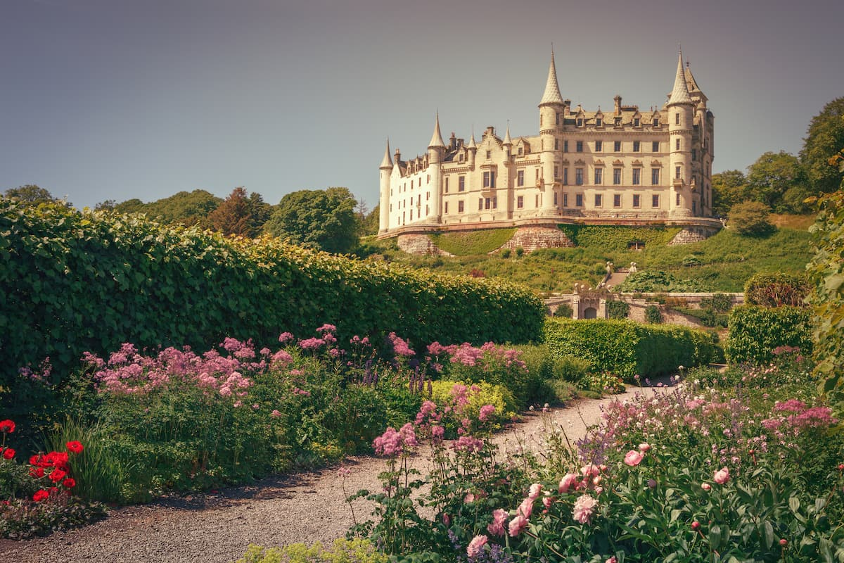 The beautiful Dunrobin castle, northern Highlands in Golspie