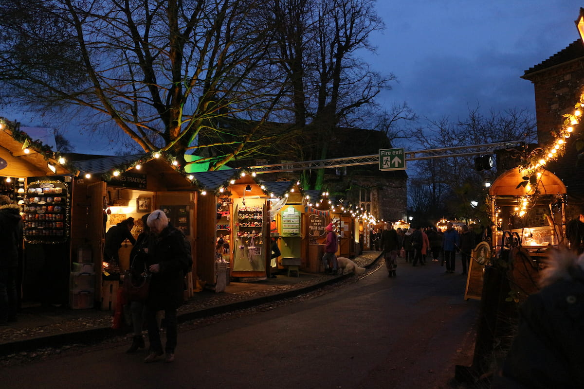 Christmas Market Stalls in the grounds of Winchester Cathedral