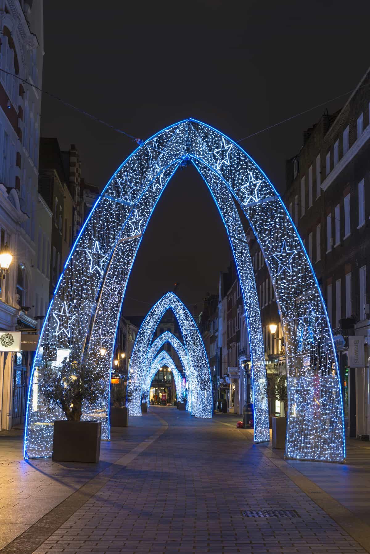 Christmas lights on South Molton Street, London