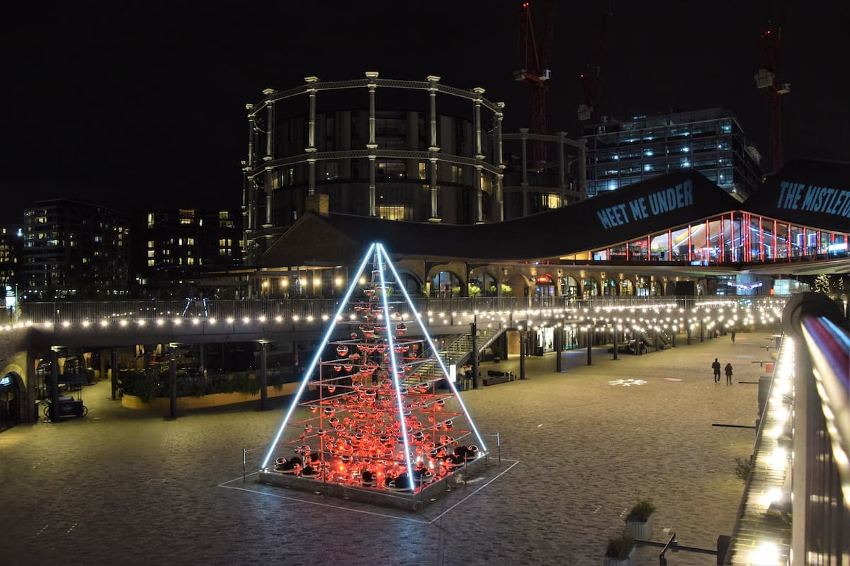 Coal Drops Yard at night with Christmas decorations, King`s Cross, London