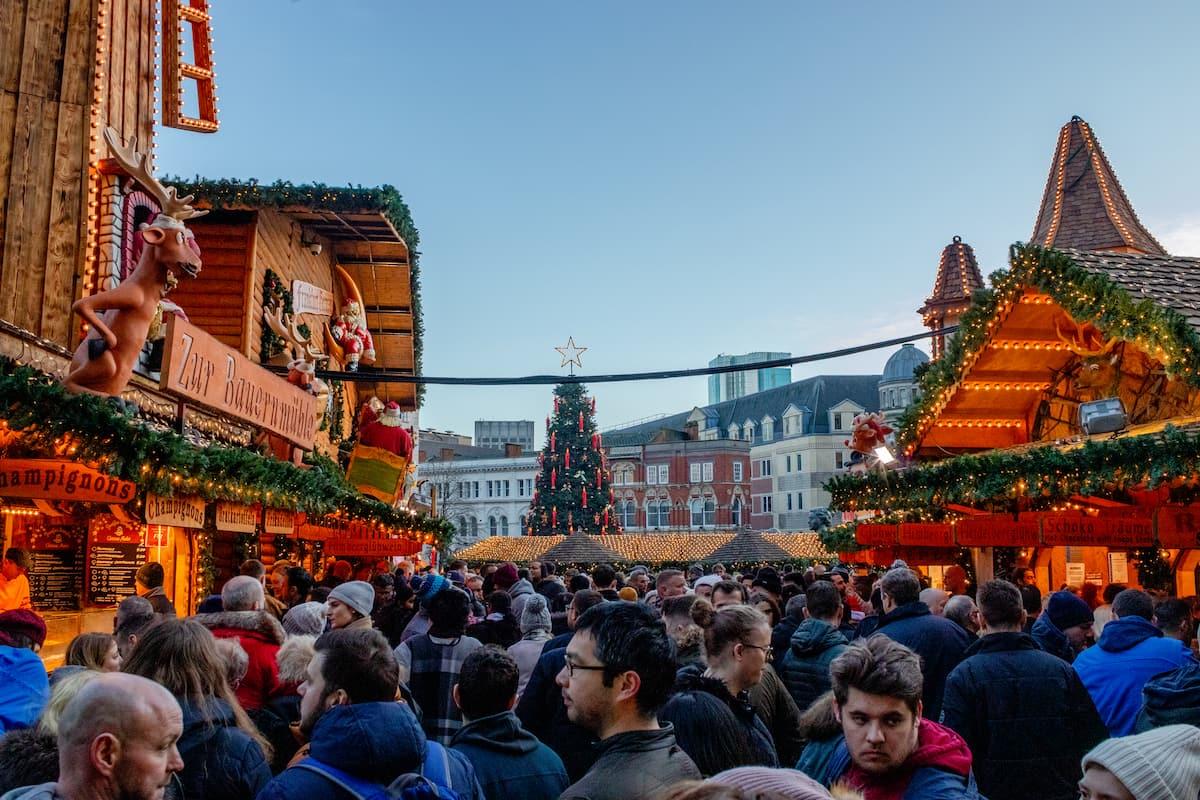 Crowds enjoying the German Christmas market in Birmingham