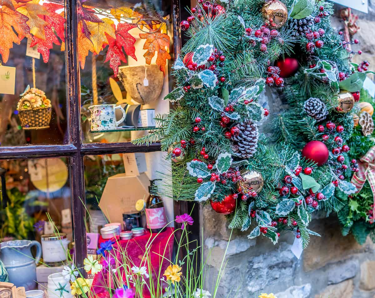 Festive and seasonal window display as Christmas time in a shop in the town of Bakewell Credit_Yackers1