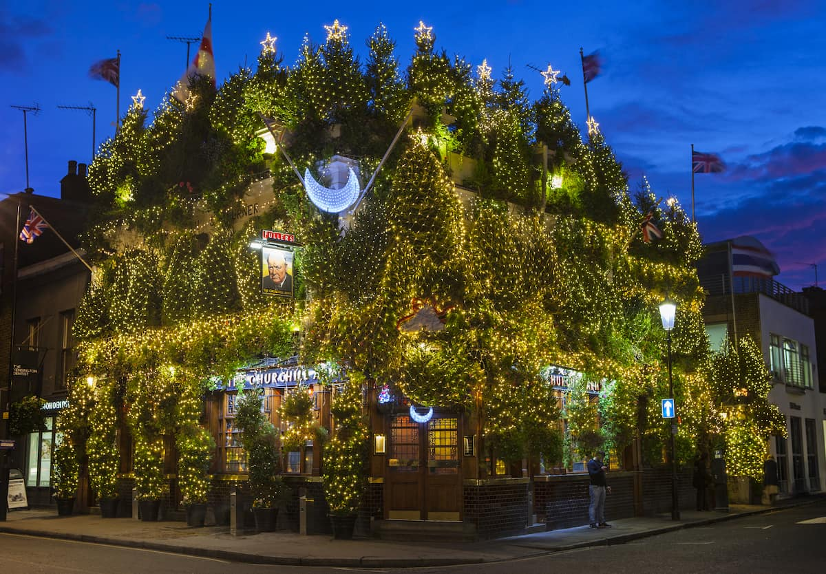 The Churchill Arms Public House at Christmas