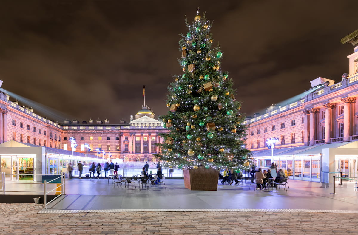 The Somerset House in London with a christmas tree and ice rink