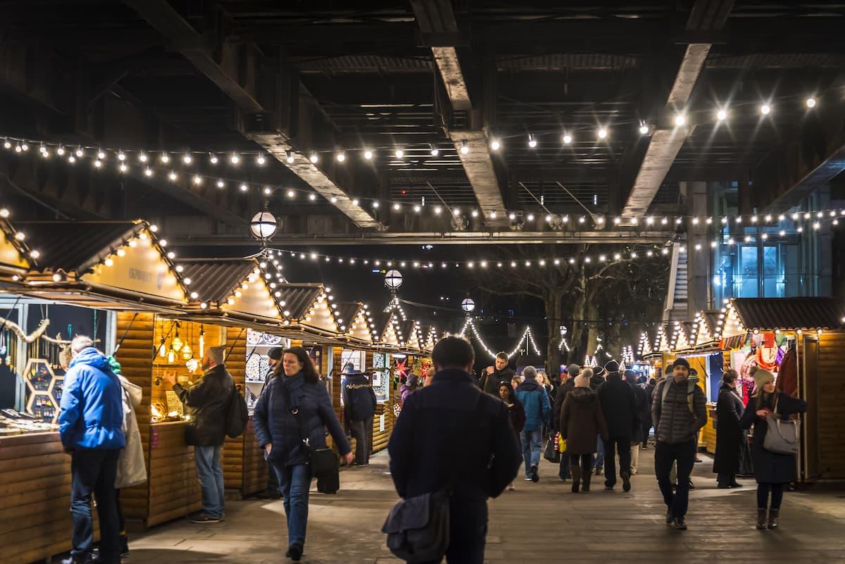 craft stalls at Christmas market at the Southbank