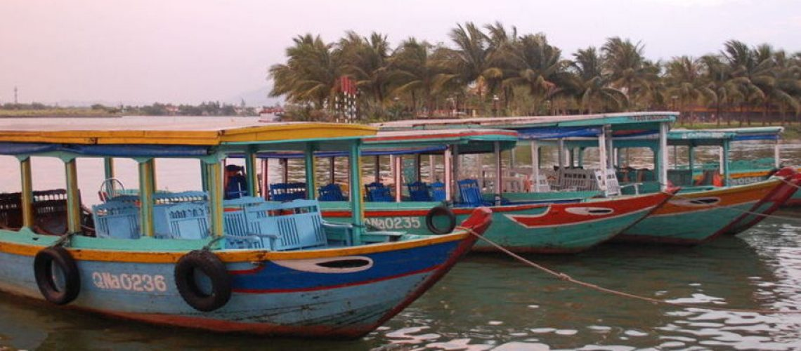 Sunset Over Hoi An with Boats